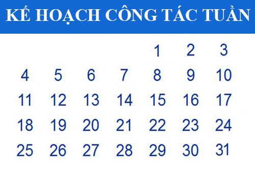 Kế hoạch công tác tuần (từ 26-30/4/2021)